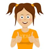 Cute teenager girl giving thumbs up. On white Stock Photography