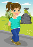 Cute teenager girl holding garbage bag walking along road Stock Photos
