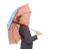 Cute Teenager Girl with a pink Umbrella Stock Image