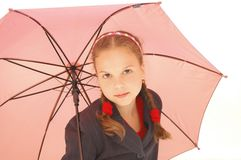 Cute Teenager Girl with a pink Umbrella Royalty Free Stock Image