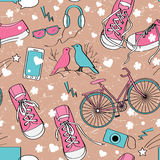 Cute teenager girls pattern. Love, sport, dreams, taking photos, and other girl interests Royalty Free Stock Image