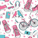 Cute teenager girls pattern. Love, sport, dreams, taking photos, and other girl interests Stock Photo