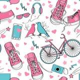 Cute teenager girls pattern. Stock Photo