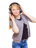 Cute teenager with headphones Royalty Free Stock Photos