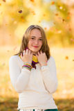 Cute teenager outdoors in autumn Royalty Free Stock Photo