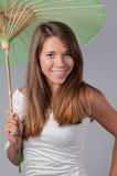 Cute Teenager With Parasol Royalty Free Stock Photography