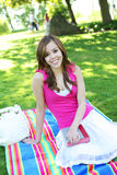 Cute Teenager in Park Royalty Free Stock Photo