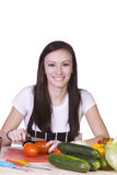 Cute Teenager Preparing Food Stock Photo