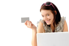 Cute teenager shopping online Stock Photos