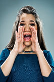 Cute Teenager Shouting Stock Images