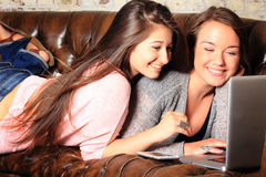 Cute Teens Networking stock photos