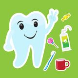 Cute teeth cartoon sticker set on blue background Royalty Free Stock Photo