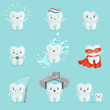 Cute teeth with different emotions set for label design. Cartoon detailed Illustrations Stock Image