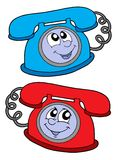 Cute telephones vector illustration. Cute blue and red telephone - vector illustration Royalty Free Stock Images
