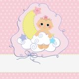 Cute template for baby postcard Royalty Free Stock Photography