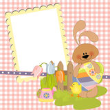 Cute template for Easter postcard Stock Photos