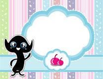 Cute template frame design for greeting card. Cute Character template can fill some words in the empty cloud shapes as you like Stock Photo