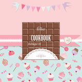 Cute template for girls. Can be used for scrapbook design, cookbook, diary, photo album cover. Royalty Free Stock Photography