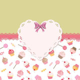 Cute template for girls with lacy doily heart. Stock Photos