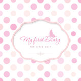 Cute template for notebook cover for girls. My first Diary. Elegant frame with butterfly on polka dot. Can be used for Stock Images