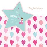 Cute template for notebook cover for girls. My first Diary. Included seamless pattern with colorful balloons. Vector. EPS10 Royalty Free Stock Photo