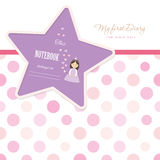 Cute template for notebook cover for girls. My first Diary. Included seamless polka dot pattern in pastel pink. Vector EPS10 Stock Photography