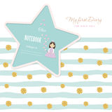 Cute template for notebook cover  girls. My first Diary. Included striped seamless pattern with glitter confetti polka dot. Cute template for notebook cover for Royalty Free Stock Image
