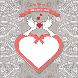 Cute  template.Paisley border lace, hearts label,cartoon pigeons Royalty Free Stock Photo