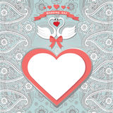 Cute  template.Paisley border lace, hearts label,cartoon swans Royalty Free Stock Image