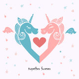 Cute template with pink and blue unicorns. Royalty Free Stock Image