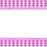 Cute template with pink lined hearts pattern on white background. Cute horizontal template with pink lined hearts pattern, space for text on white background Stock Image