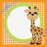 Cute template for postcard with giraffe Royalty Free Stock Photography
