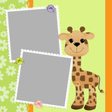 Cute template for postcard with giraffe Stock Photography