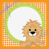 Cute template for postcard with lion Stock Photo