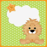 Cute template for postcard with lion Royalty Free Stock Photo