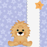 Cute template for postcard with lion Stock Photos