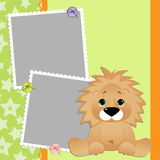 Cute template for postcard with lion Royalty Free Stock Photography