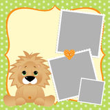 Cute template for postcard with lion Stock Image