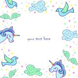 Cute template with unicorn, wings, bird, cloud. Royalty Free Stock Image