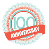 Cute Template 100 Years Anniversary with Balloons and Ribbon Vec Royalty Free Stock Image