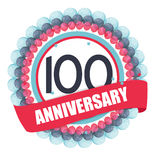 Cute Template 100 Years Anniversary with Balloons and Ribbon Vec Stock Image