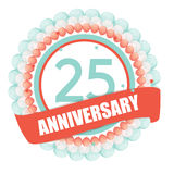 Cute Template 25 Years Anniversary with Balloons and Ribbon Vect. Or Illustration EPS10 Royalty Free Stock Photography