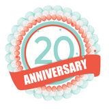 Cute Template 20 Years Anniversary with Balloons and Ribbon Vect. Or Illustration EPS10 Royalty Free Stock Photo