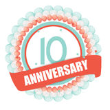 Cute Template 10 Years Anniversary with Balloons and Ribbon Vect Stock Photo