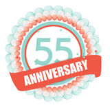Cute Template 55 Years Anniversary with Balloons and Ribbon Vect. Or Illustration EPS10 Stock Image