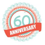 Cute Template 60 Years Anniversary with Balloons and Ribbon Vect Stock Photography