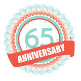 Cute Template 65 Years Anniversary with Balloons and Ribbon Vect. Or Illustration EPS10 royalty free illustration