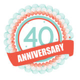 Cute Template 40 Years Anniversary with Balloons and Ribbon Vect Stock Photography
