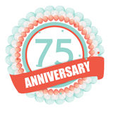 Cute Template 75 Years Anniversary with Balloons and Ribbon Vect Stock Photos
