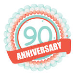 Cute Template 90 Years Anniversary with Balloons and Ribbon Vect. Or Illustration EPS10 Royalty Free Stock Images